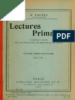 Toutey, E. - Lectures Primaires, 63 Morceaux Choisis, CP (Hachette, 1910)