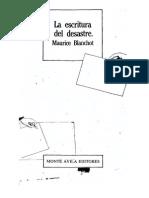 Blanchot Maurice, La Escritura Del Desastre