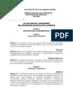 Ley y Reglamento de Servicio Comunitario Del Estudiante de Educación Superior