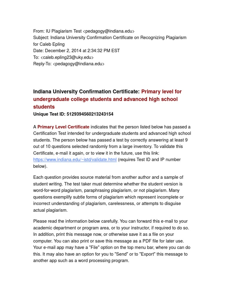 Indiana university confirmation certificate on recognizing indiana university confirmation certificate on recognizing plagiarism for caleb epling plagiarism public key certificate 1betcityfo Images