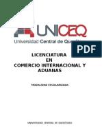 Plan de Estudios Licenciatura en Comercio Internacional y Aduanas UNICEQ - 2013