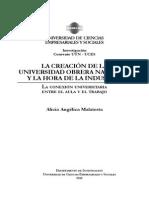 LA CREACIÓN DE LA UNIVERSIDAD OBRERA NACIONAL Y LA HORA DE LA INDUSTRIA