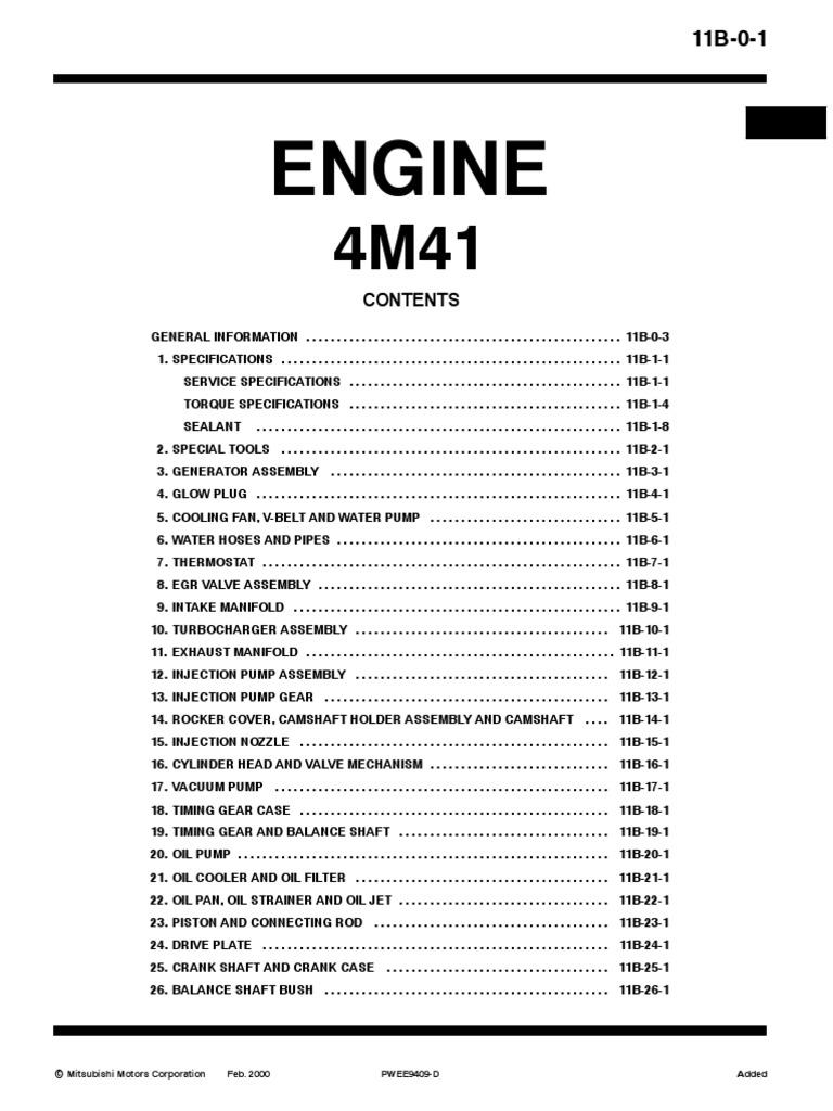Motor 4M41 Mitsubishi   Turbocharger   Screw