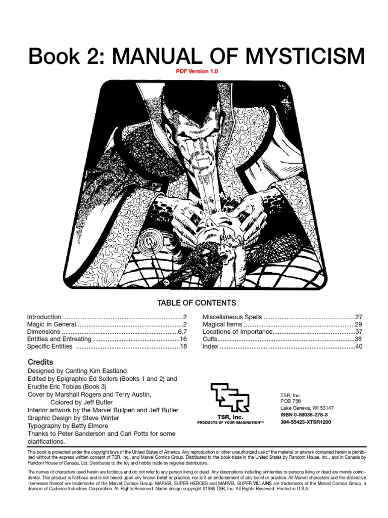 Marvel Super Heroes (Classic) - Realms of Magic 2 - Manual