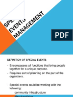 Special Events Management- Report