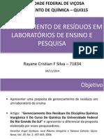 Gerenciamento de Resíduos Em Laboratórios de Ensino Rayane