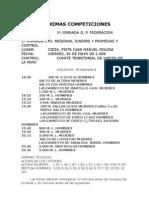 PRÓXIMAS COMPETICIONES Abril 08