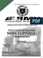 26 Nov 14 News Clippings