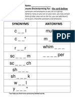 synonyms-antonyms brainstorming worksheet - bellow