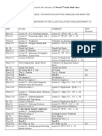 Calendar of Activities and Assignments for Mr.