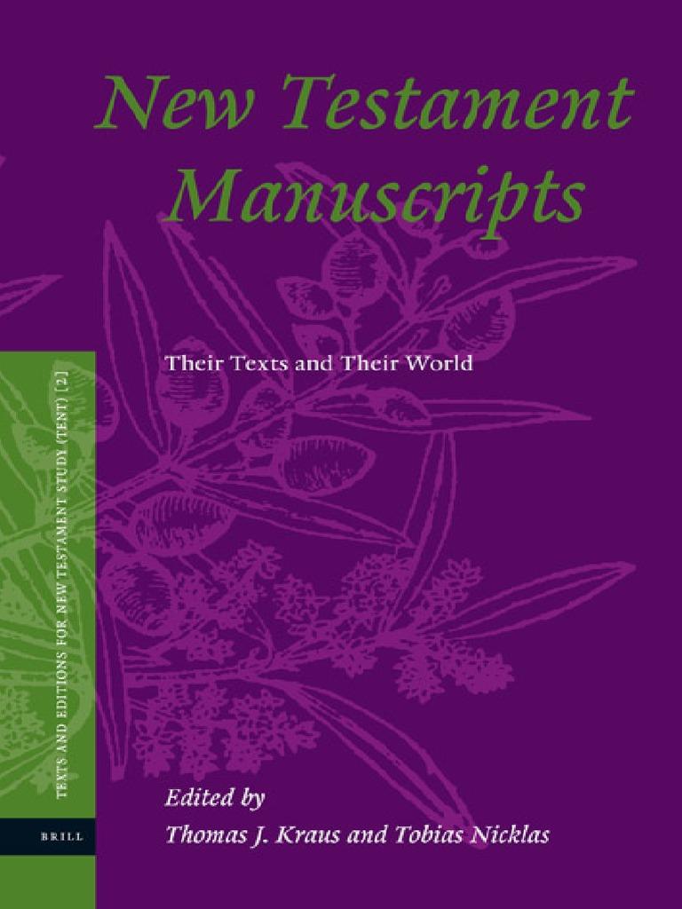 Thomas J Kraus Tobias Nicklas New Testament Manuscripts