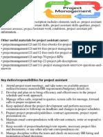 Project Assistant Job Description
