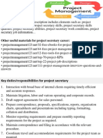 Project Secretary Job Description