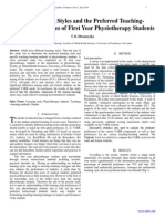The Learning Styles and the Preferred TeachingLearning Strategies of First Year Physiotherapy Students
