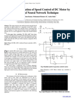 Design and Simulation of Speed Control of DC Motor by  Artificial Neural Network Technique
