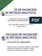 CALCULOS DE LINEALIDAD