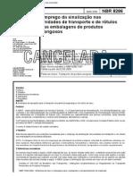 NBR 8286 - 2000 - NB 837 - Emprego Sinalizacao Nas Unidades Transporte e de Rotulos Nas Embalagens de Produtos Perigosos - Norma Cancelada