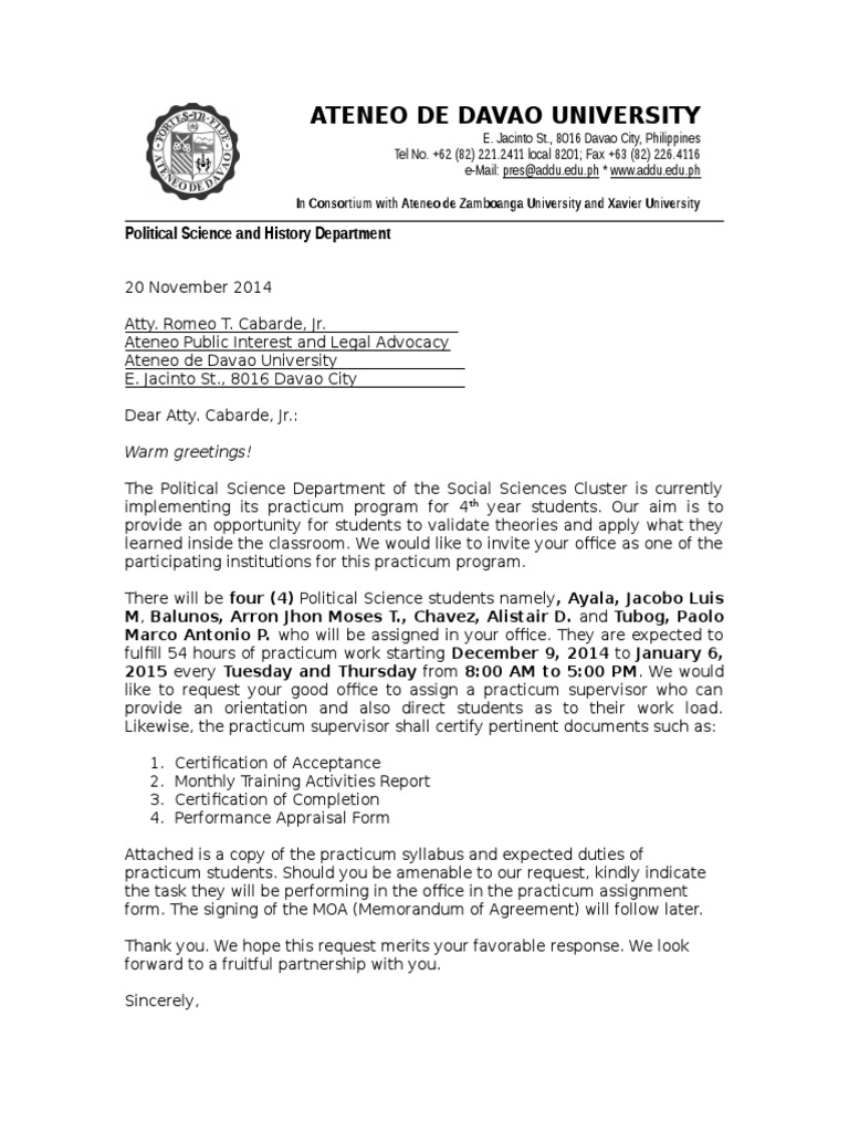 Ateneo De Davao Letter Of Invitation For Ojt Teaching And