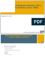 SAP Crystal Reports Viewer 2011 Product Availability Matrix (PAM