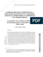 7 Jolly Jeanfrançois 2005 Gobernabilidad Territorial y Descentralización en Colombina Regir El Territorio o Gobernarlos Territorios