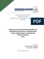 Diseño de Un Plan de Selección de Personal Por Competencias, Que Garanticen Productividad y Competitividad en El Entorno Empresarial Del Transporte Pesado