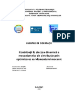 Contribuții la sinteza dinamică a mecanismelor de distribuţie prin optimizarea randamentului mecanic