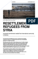 Resettlement of Refugees from Syria: Increased commitments needed from international community in Geneva