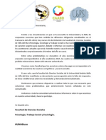 Comunicado Psicología, Trabajo Social, Sociología 2014