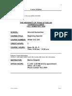 UT Dallas Syllabus for span1312.001 06f taught by Marina Delgado (mxd037000)