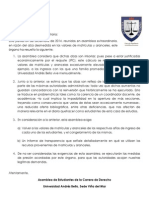 COMUNICADO ASAMBLEA EXTRAORDINARIA DERECHO 4.12.2014