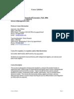 UT Dallas Syllabus for eco4351.001 06f taught by Daniel Obrien  (obri)