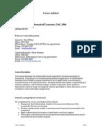 UT Dallas Syllabus for eco5309.501 06f taught by Daniel Obrien  (obri)
