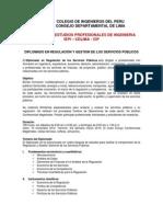 Diplomado en Regulacion y Gestion de Los Servicios Publicos (CIP 15 Nov. 2014 Al 22 Marz. 2015)