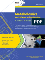 Metabolomics:Technologies and Applications - A Global Market Overview