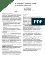 UT Dallas Syllabus for psy2301.001 05f taught by James Bartlett (jbartlet)