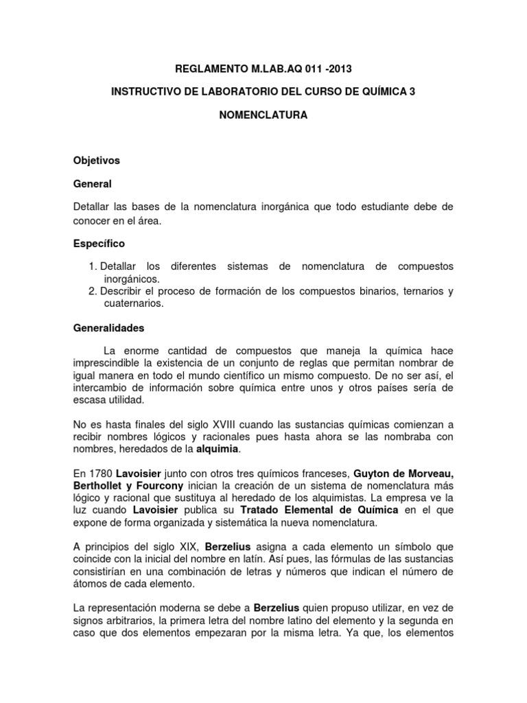 nomenclatura quimica laboratorio quimica 3docx - Tabla Periodica De Los Elementos Quimicos Con Nombres En Latin
