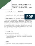 UT Dallas Syllabus for math6319.501 05f taught by Viswanath Ramakrishna (vish)