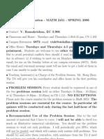 UT Dallas Syllabus for math2451.501 06s taught by Viswanath Ramakrishna (vish)