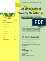 Uplands School Weekly Newsletter - Term 1 Issue 16 - 5 December 2014