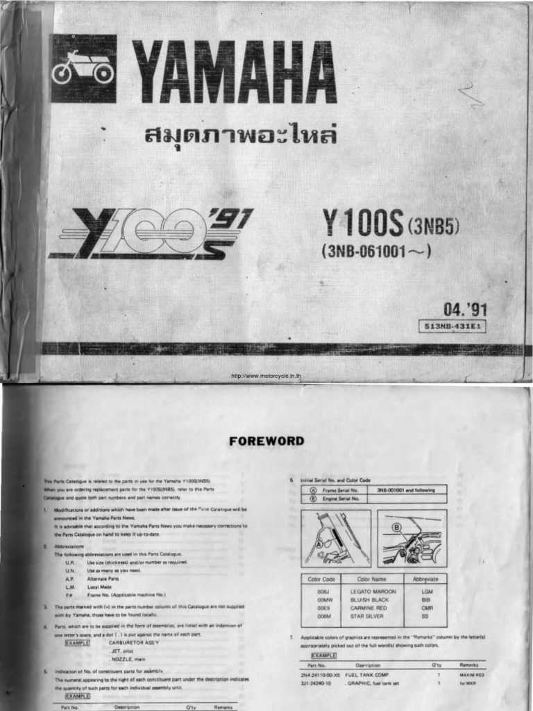 Yamaha Y100 Beller Parts Manual Wiring Diagram Jupiter Z1