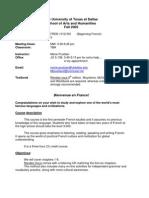 UT Dallas Syllabus for fren1312.501 05f taught by Marie Poublan (mjp017000)