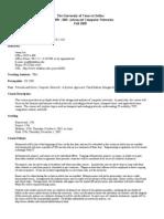 UT Dallas Syllabus for cs6390.003 05f taught by Jason Jue (jjue)
