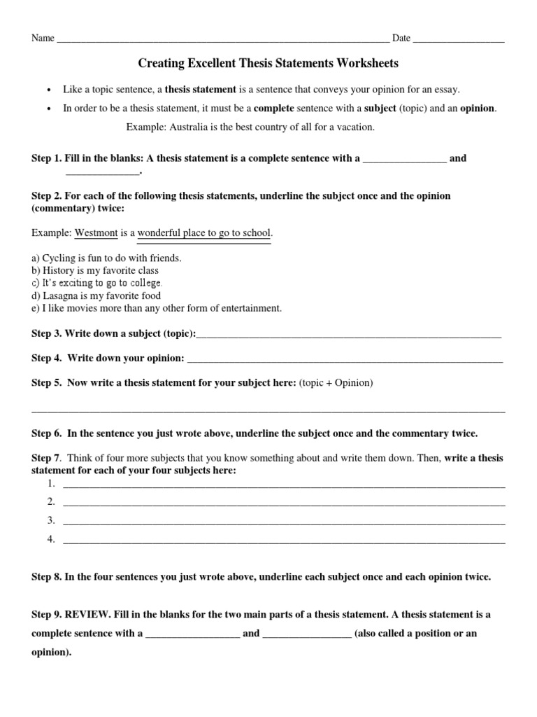 creating excellent thesis statements worksheets | Taekwondo ...