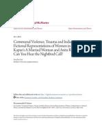Communal Violence Trauma and Indian Women- Fictional Representat