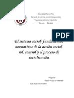 scridensayo crítico sobre  el sistema social; fundamentos normativos de la acción social, rol, control y el proceso de socialización