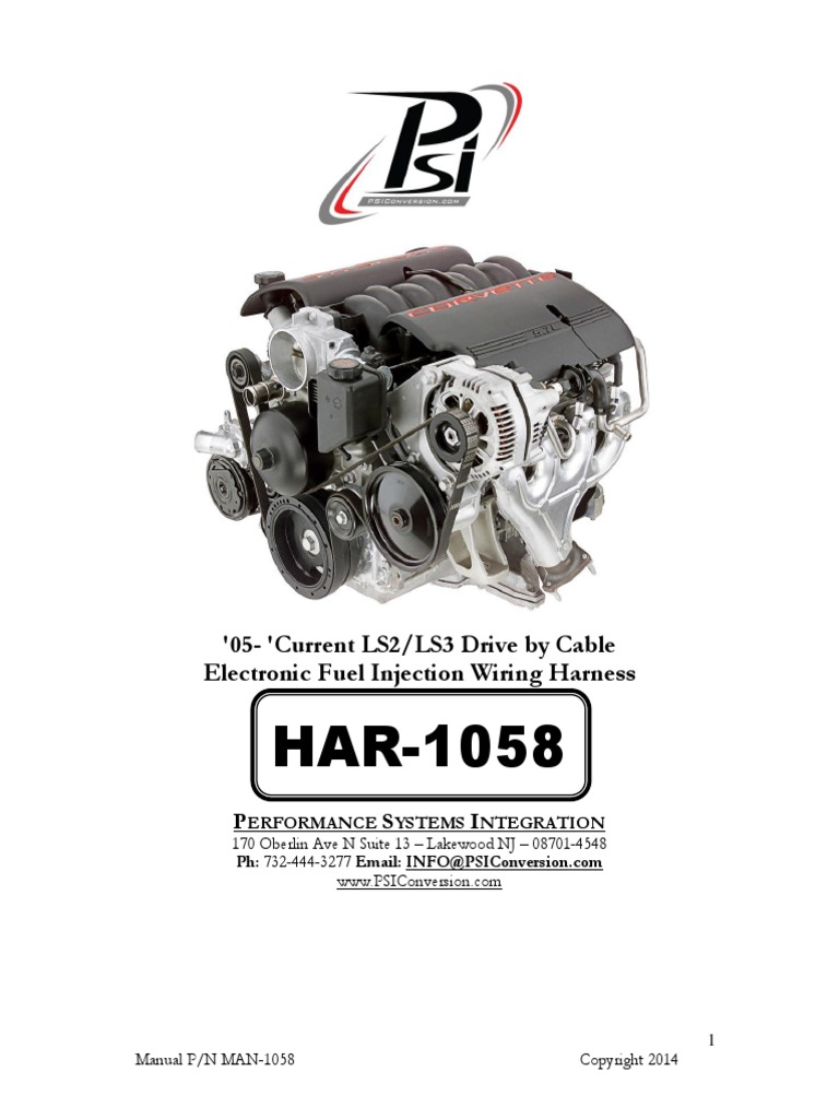 Manual for: LS2 LS3 Drive By Cable EFI Harness