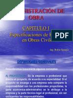 Administracion de Obra - CAP I - Especificaciones de Recursos
