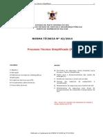 Nt-42 2014 Pts - Processo Técnico Simplificado