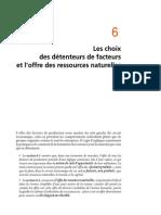 Chapitre 6 Les Choix Des Détenteurs de Facteurs Et l'Offre Des Ressources Naturelles