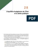Chapitre 28 L'Équilibre Budgétaire de l'Etat Et La Dette Publique
